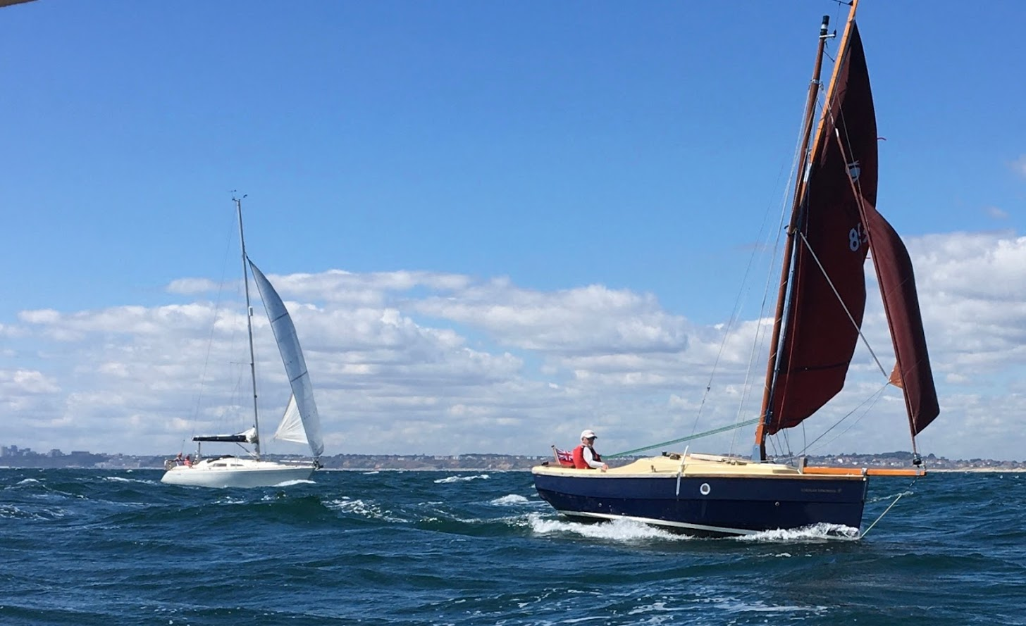 PYC member and Shrimper owner David Lack (sailing his Atlantide) escorts a group of Shrimpers to the Solent