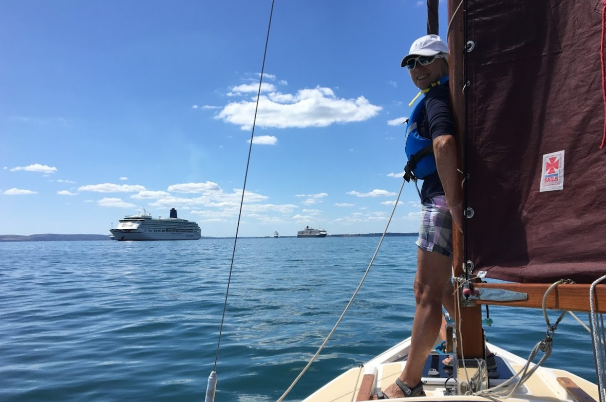 Heading towards the 'Aurora'  and the 'Queen Victoria' on a perfect July afternoon